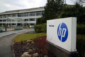 Bracknell, England - January 18, 2015: The Hewlett Packard office in Bracknell, England which serves as their registered company address in the UK. HP was founded in Palo Alto, California in 1939